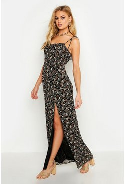 Womens Black Floral Print Ruffle Detail Maxi Dress