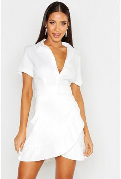 Womens Ivory Ruffle Detail Belted Shirt Dress