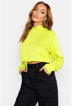 Womens Neon-lime Fit Neon Cropped Hoodie