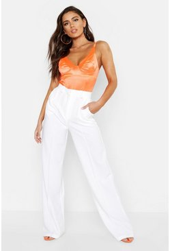 Womens Ivory Seam Front Crepe Wide Leg Pants