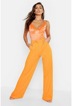 Seam Front Crepe Wide Leg Trousers, Orange