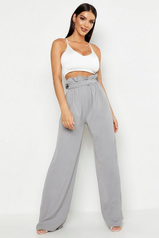 Grey Belted Paperbag Waist Wide Leg Trousers