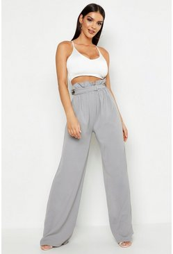 Belted Paperbag Waist Wide Leg Trousers, Grey, DAMEN