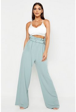 Belted Paperbag Waist Wide Leg Trousers, Sage, MUJER