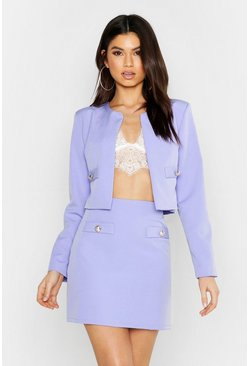 Womens Lilac Woven Button Detail Mini Skirt