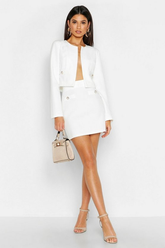 Womens White Woven Button Detail Mini Skirt