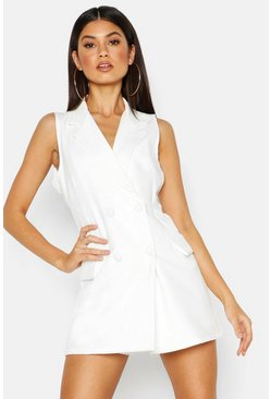 Womens White Woven Sleeveless Double Breasted Jacket