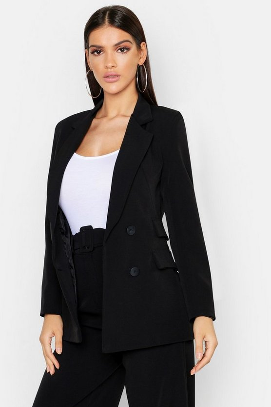 Womens Black Woven Double Pocket Blazer Jacket