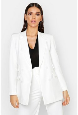Woven Double Pocket Blazer Jacket, White, DAMEN