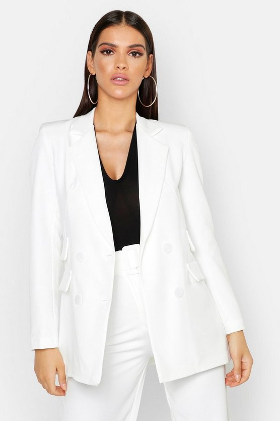 Womens White Woven Double Pocket Blazer Jacket