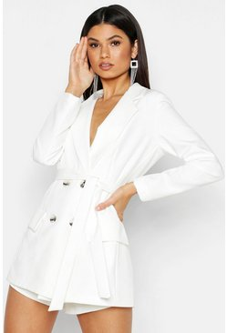 Womens White Woven Belted Double Breasted Blazer