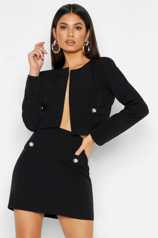 Womens Black Woven Collarless Button Cropped Jacket
