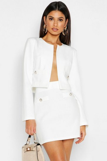 Womens White Woven Collarless Button Cropped Jacket