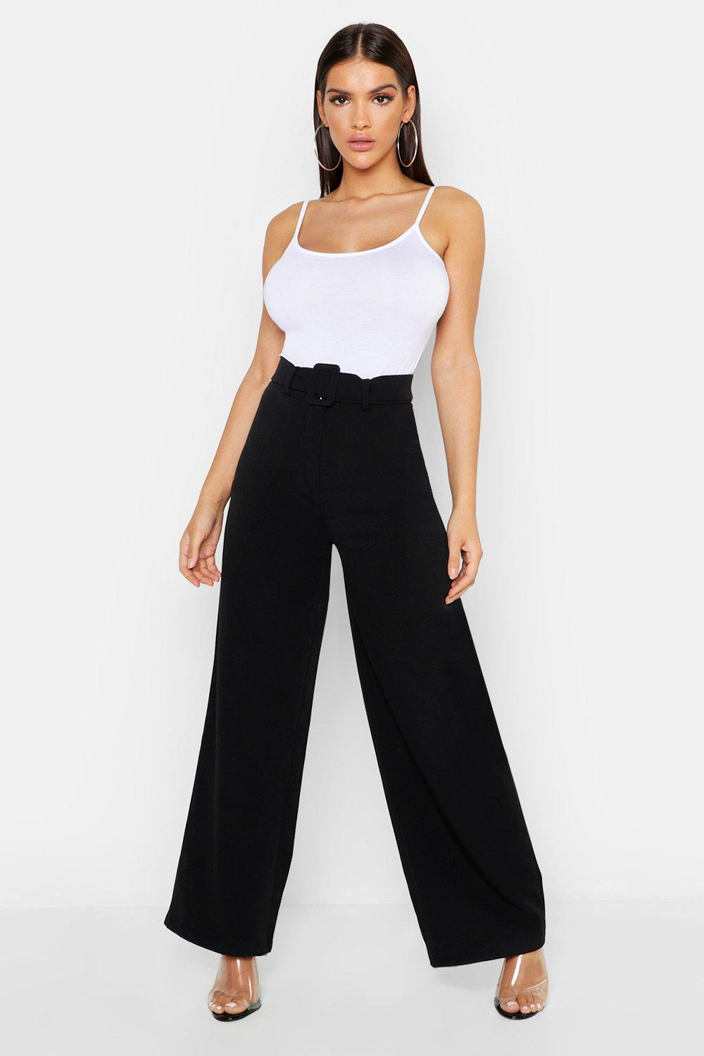 Woven Belted Wide Leg Trousers