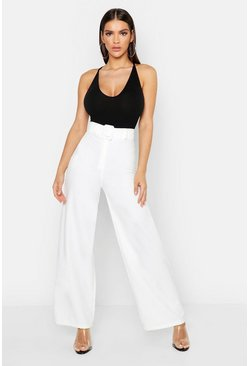 Woven Belted Wide Leg Trousers, White, Donna