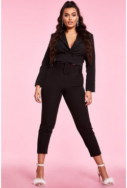 Womens Black Woven Exaggerated Wide Belt Tapered Pants