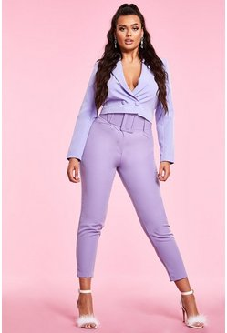 Woven Exaggerated Wide Belt Tapered Trouser, Lilac, Femme