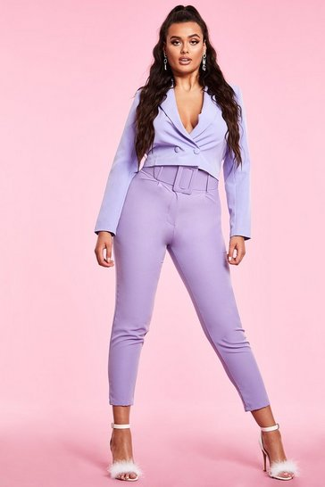 Womens Lilac Woven Exaggerated Wide Belt Tapered Trouser