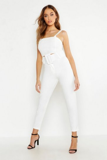 Womens White Woven Exaggerated Wide Belt Tapered Trouser