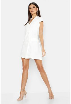 Womens White Woven Short Sleeve Double Breasted Blazer Dress