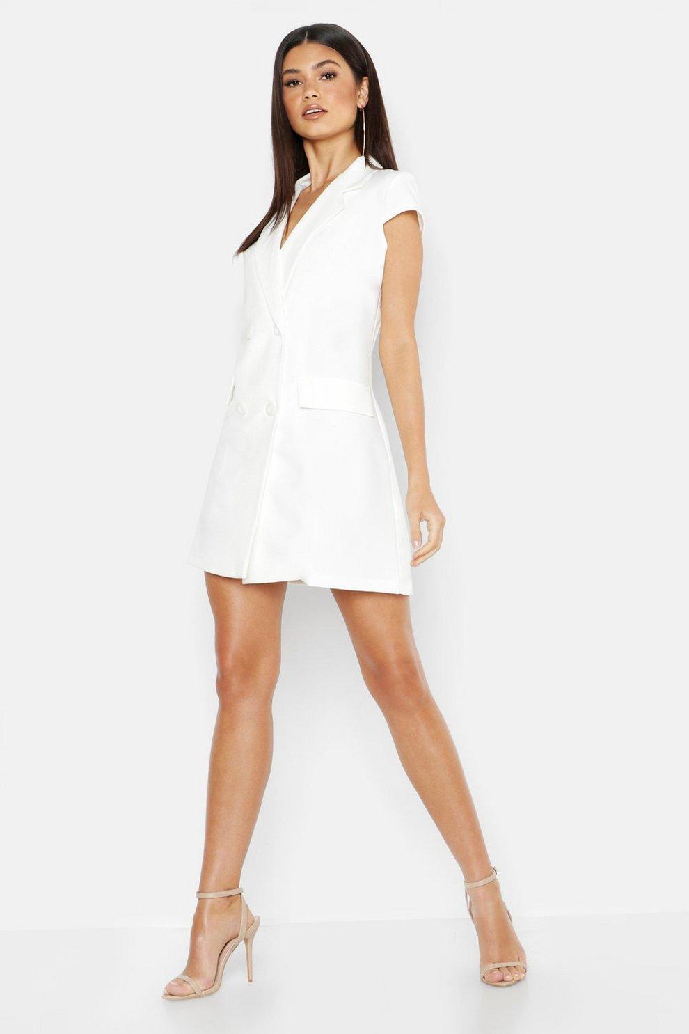 7a9c7097dafd Woven Short Sleeve Double Breasted Blazer Dress | Boohoo