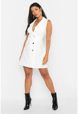 Woven Sleeveless Double Breasted Dress, White, Donna