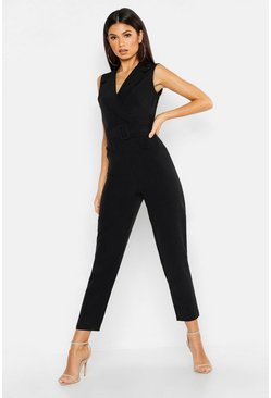 Womens Black Woven Blazer Belted Jumpsuit