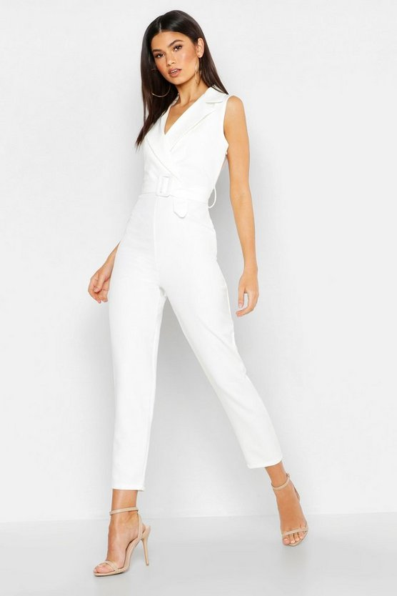 White Woven Blazer Belted Jumpsuit
