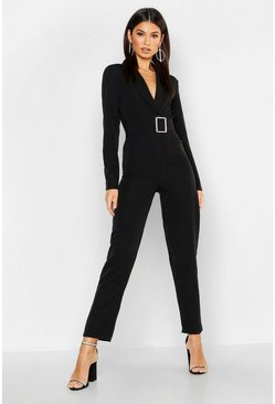 Woven Blazer Diamante Buckle Belted Jumpsuit, Black, FEMMES
