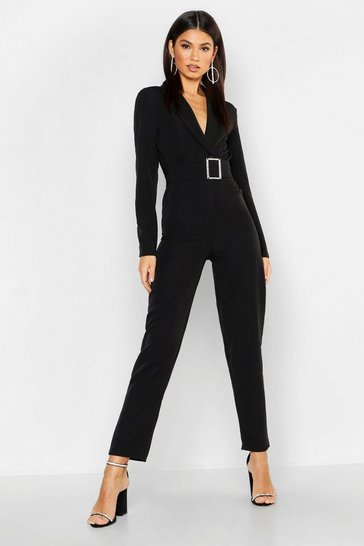 Womens Black Woven Blazer Diamante Buckle Belted Jumpsuit