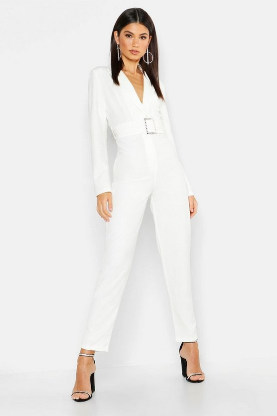 Woven Blazer Diamante Buckle Belted Jumpsuit