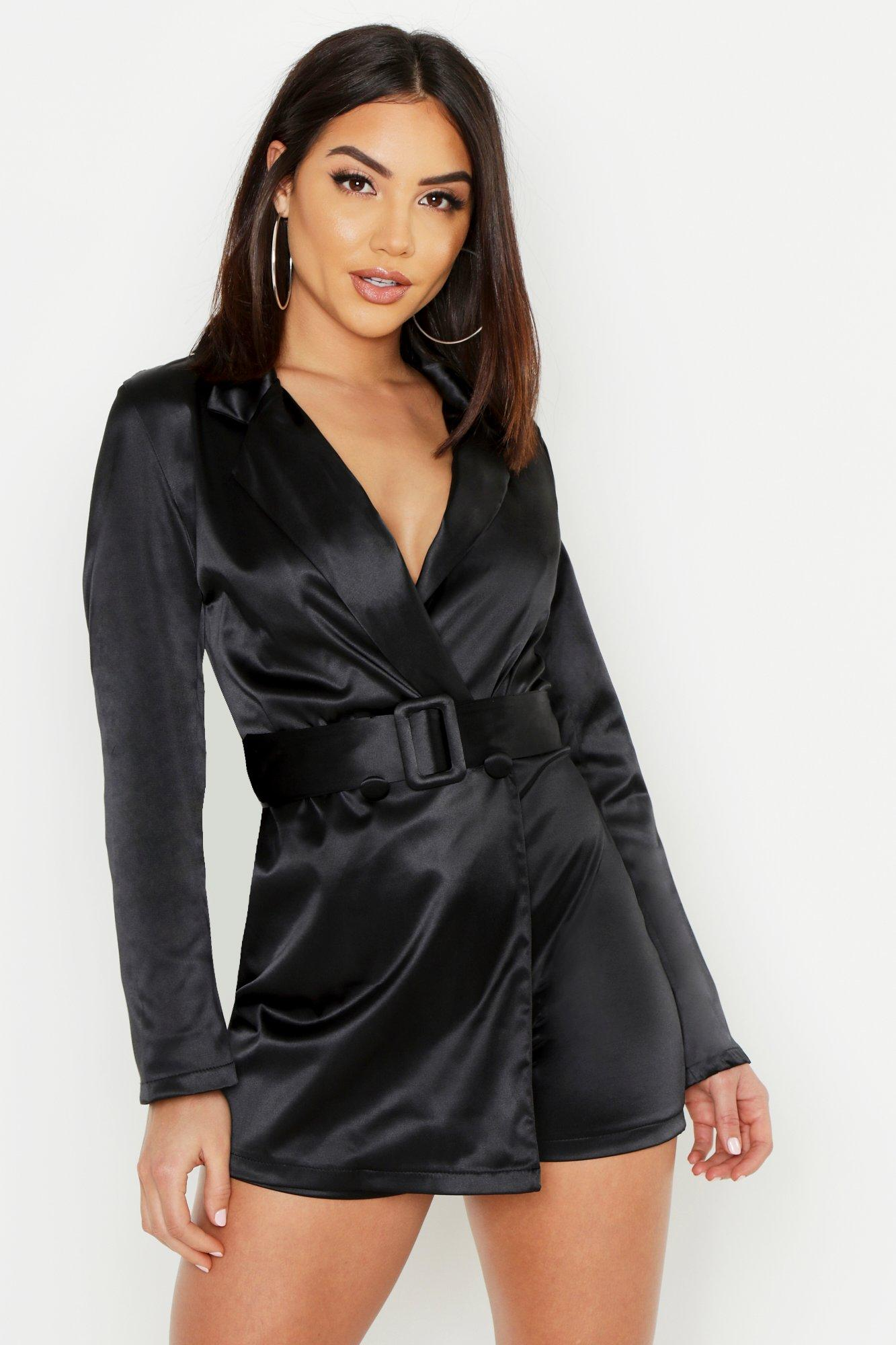 Satin Self Belted Long Sleeve Playsuit