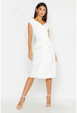 Womens White Woven Bardot Double Breasted Midi Blazer Dress
