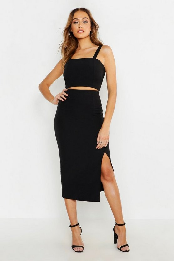 Womens Black Woven Crop Top & Midi Skirt Co-ord