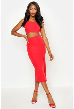 Womens Red Woven Crop Top & Midi Skirt Co-ord
