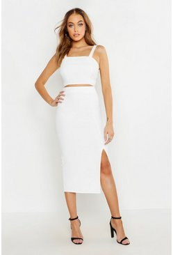 Womens White Woven Crop Top & Midi Skirt Co-ord
