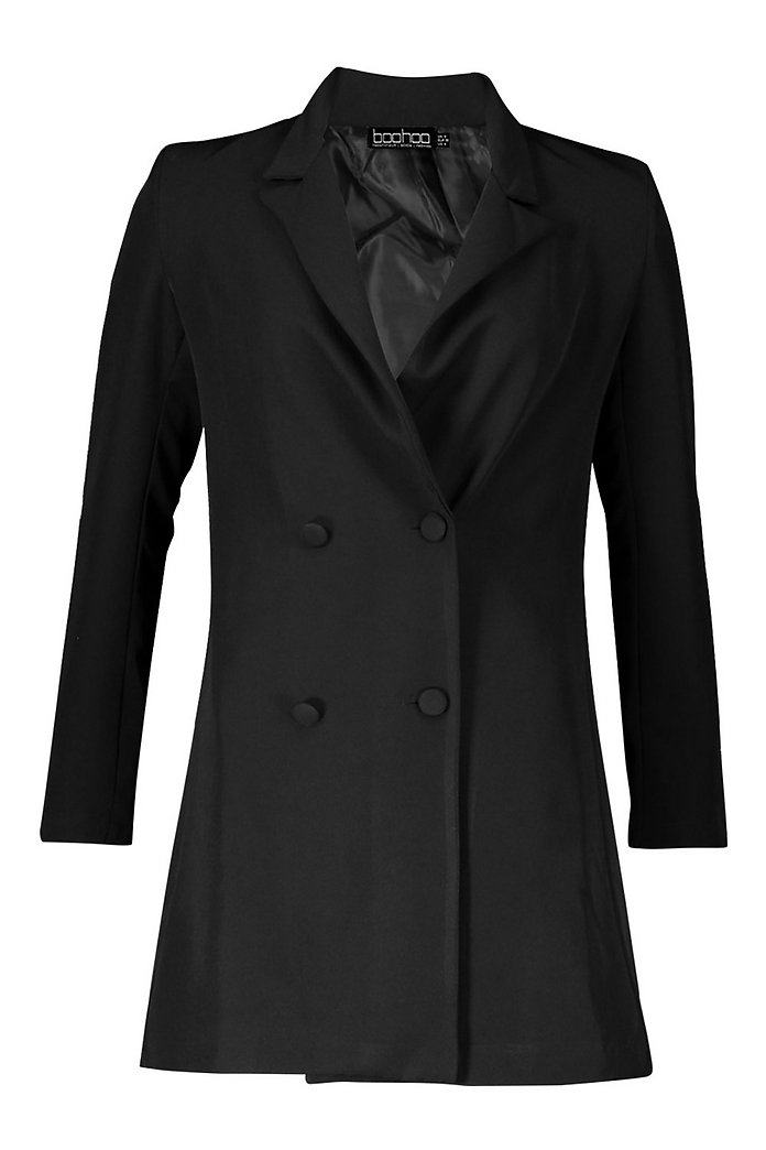 Woven Long Sleeve Cover Button Blazer Dress | boohoo