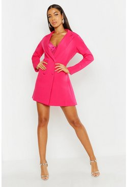Womens Hot pink Woven Long Sleeve Cover Button Blazer Dress