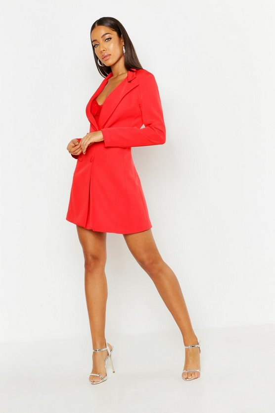 Womens Red Woven Long Sleeve Cover Button Blazer Dress