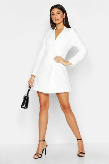 Womens White Woven Long Sleeve Cover Button Blazer Dress