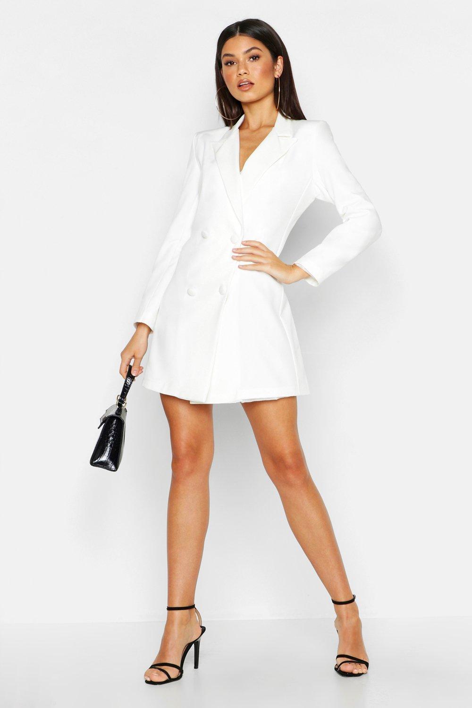 magasiner pour authentique sélectionner pour authentique premier coup d'oeil Robe blazer tissée à manches longues et boutons couverts | Boohoo