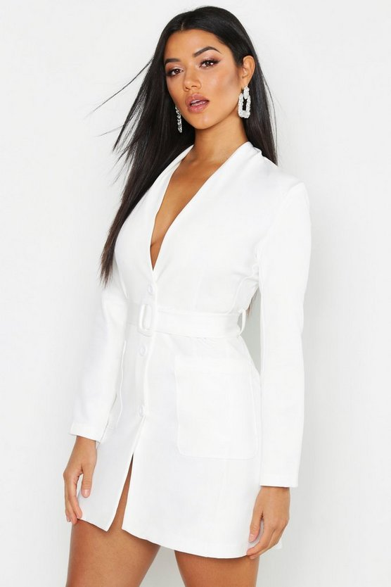 Womens White Woven Collarless Belted Blazer Dress