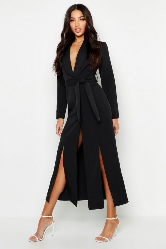 Woven Belted Split Detail Maxi Blazer Dress, Black, MUJER