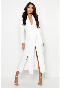 Woven Belted Split Detail Maxi Blazer Dress, White, MUJER