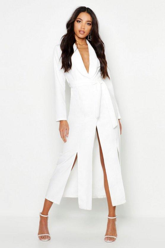 Woven Belted Split Detail Maxi Blazer Dress by Boohoo