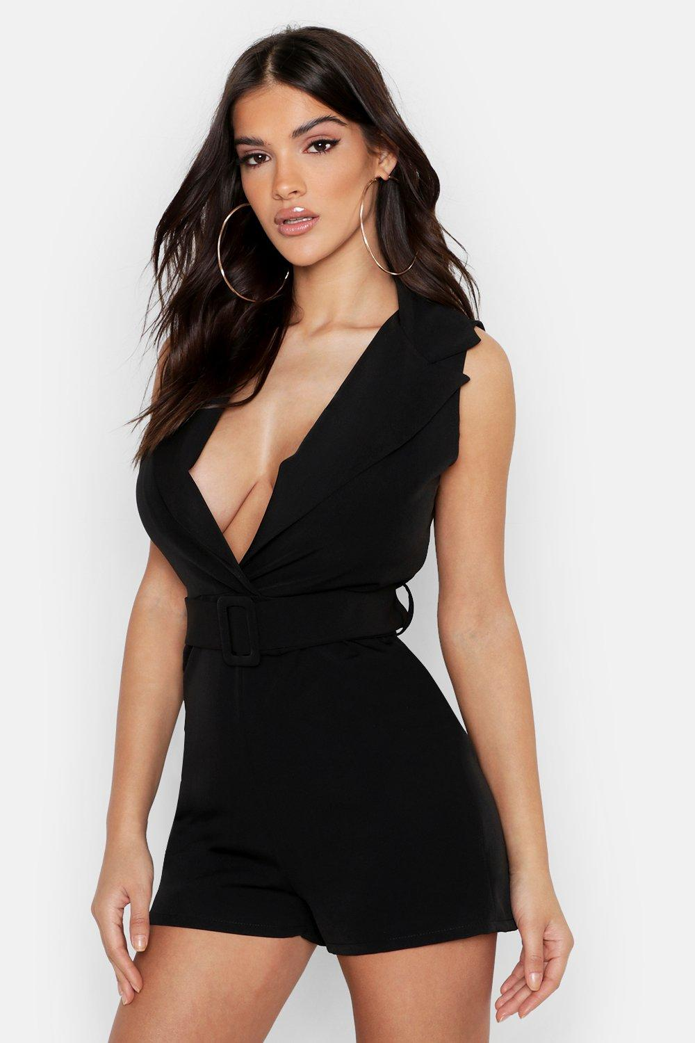 Woven Sleeveless Belted Playsuit