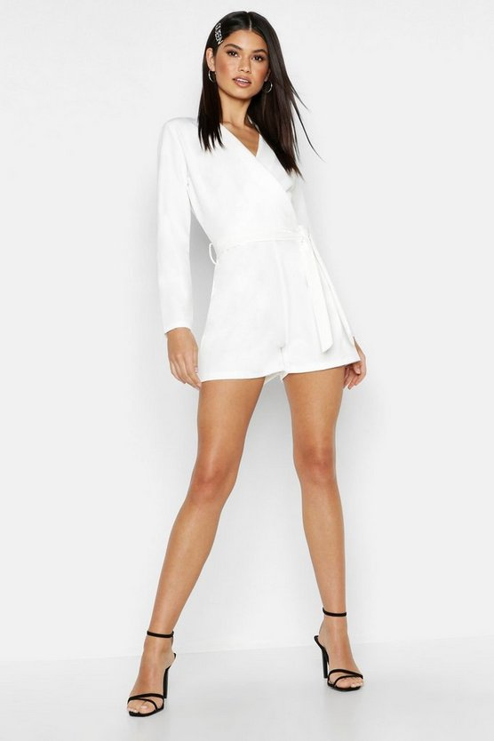 Womens White Woven Wrap Belted Playsuit