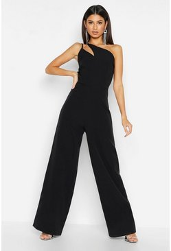 Womens Black Woven One Shoulder Jumpsuit