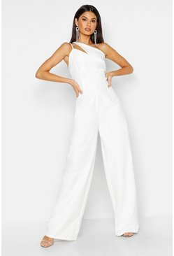 White Woven One Shoulder Jumpsuit