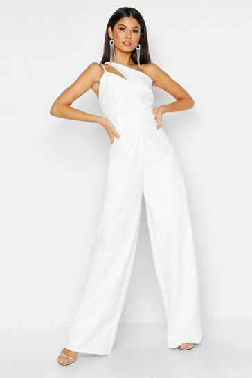 Womens White Woven One Shoulder Jumpsuit